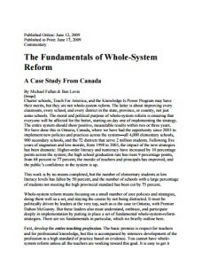 Fundamentals of Whole System Reform