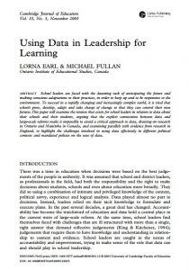 Using Data in Leadership for Learning